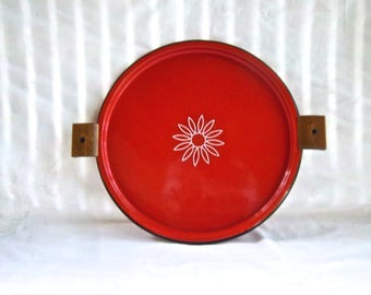 Enameled Decorative Round Tray Home and Living Import Serving Tray Wood Handles Import Mexico Indoor Outdoor Picnic Table Serving
