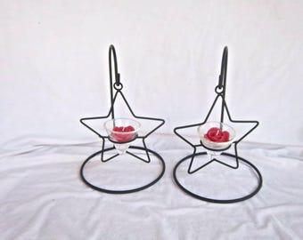 Vintage Black Rustic Metal Swinging Star Tea Light Stand and Holder Four Piece Set Rustic Christmas Vintage Star Light Metal Decor