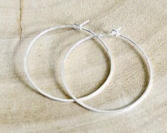 "Thin  Silver Hoop Earrings, Small 1.5"" 14k Sterling Silver Hoops, Lightweight Hoops, Simple Hoop Earrings"