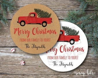 Christmas Truck Stickers or Tags, Little Red Truck Tags, Antique Truck Merry Christmas Tags, Vintage Truck & Tree Labels, White or Kraft