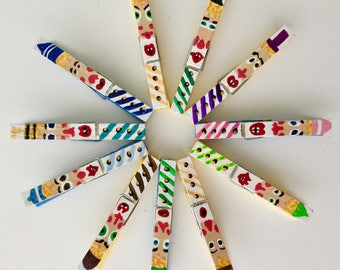 Decorative Clothespin Clown Clips Original Hand Painted