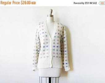 20% OFF SALE polka dot cardigan, vintage 80s white slouchy sweater, candy dots cardigan, 3xl