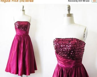 20% OFF SALE vintage sequin party dress, vintage 80s strapless sequin dress, raspberry red 50s style prom dress, xxsmall xxs