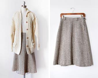 70s flecked wool skirt, vintage brown + white wool midi skirt, a-line 1970s skirt, small