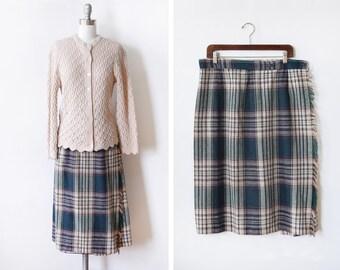 """green plaid skirt, vintage 70s wrap wool skirt, 1970s forest green fringe midi skirt, 34"""" waist, large"""