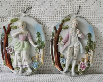 Pair of Rococo Style Bisque Courtship Plaques/Vintage 1950s/Hollywood Regency Kitsch/French Rococo Style Couple/Courtier and Maiden