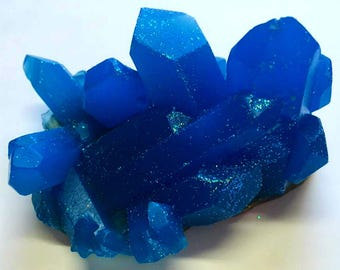 Sapphire Blue Geode Crystal Mineral Gemstone Rock Soap - Vanilla Bean Scented