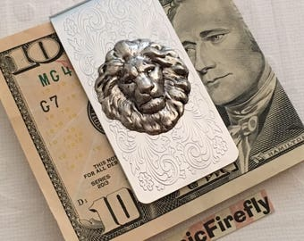 Shiny Silver Lion Money Clip Steampunk Money Clip Gothic Victorian Classic Vintage Inspired Men's Money Clip Gifts For Men Him Men's Leo