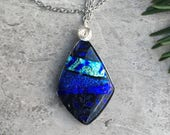 Deep Blue Moonlit Flora Dichroic Glass Pendant