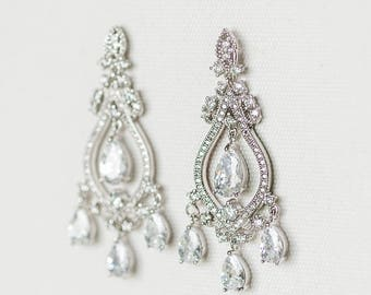 Cubic Zirconia Wedding Earrings, Bridal Earrings, Chandelier Bridal Earrings