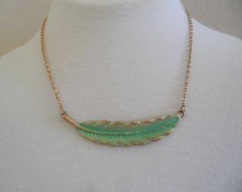 Elegant Turquoise Color Patina Leaf Gold Tone Necklace