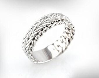 Men's Wedding Band, Men's wedding ring, Braided Gold Wedding Ring, Wide Wedding Band for Him,  Anniversary Ring for Men,  Free Shipping