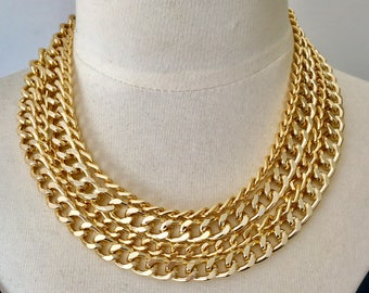 """Gold chain necklace,statement necklace,layered chain necklace,chunky chain necklace,modern necklace,""""Go For Gold Statement Necklace"""""""