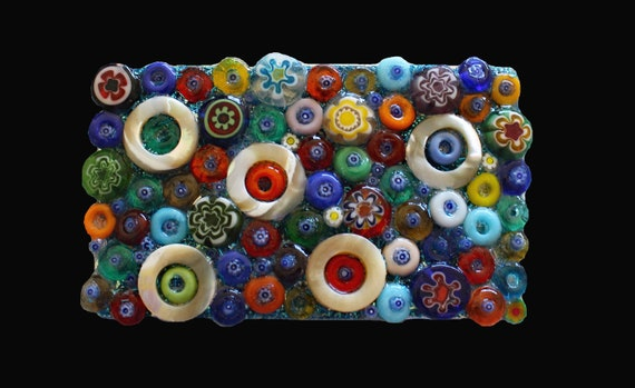 Fun Colorful Dots and Donuts Glass Beads Mosaic Belt Buckle with Millefiori