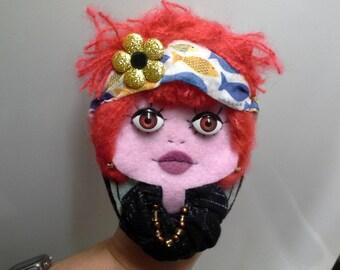Felt Brooch Portrait Art Doll 'Camelia'