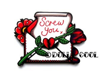 Love Letter Rose Screw You by Dolly Cool Retro Vintage 50s Anti Valentine Style Wooden Tattoo inspired Novelty Pin