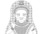 Thai Dancer Matryoshka Coloring Sheet Printable file