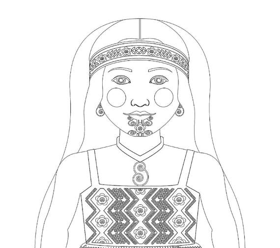 Maori New Zealand Doll Traditional Dress Coloring Sheet Printable