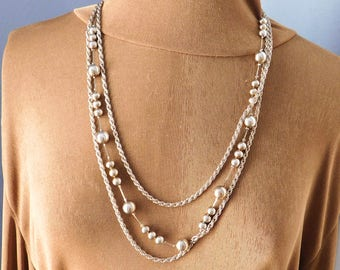 Vintage Multi-Chain Silvertone Long Necklace - Three Strands - 2 Textured Chains, 1 Beaded Chain - 27 Inches - 1980s to 1990s
