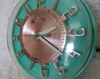 Vintage Telechron General Electric Clock Turquoise and Gold 1950's