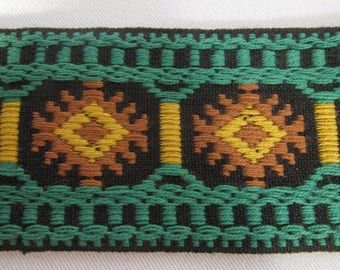 """Vintage Trim Woven Ribbon with Retro Design 2 yards x 2"""" wide"""