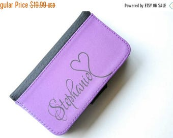 ON SALE iPhone 6 Purple + Black Monogrammed Bifold Wallet Phone Case, iPhone 6 Plus