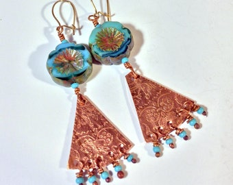 Etched Copper Dangle Earrings with Czech Glass Flowers - Free Domestic Shipping