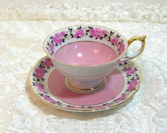 German Teacup and Saucer, Pink Floral, Collectible Teacup