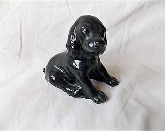 Vintage Black Cocker Spaniel Figurine Morton Studio Pottery