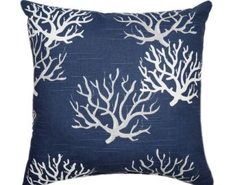 Coral Pillow, Navy Pillow, Isadella Coral Navy STUFFED Decorative Pillow, Navy White Gray Beach Theme Pillow, Accent Pillow, 16x16 Pillow