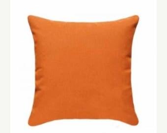 Orange Outdoor Pillow, Sunbrella Canvas Tangerine Outdoor Pillow, Sunbrella Throw Pillow, Free Shipping, orange sunbrella pillow, 5406-0000
