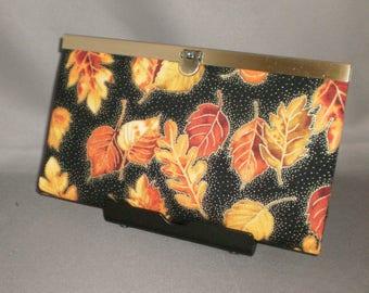 Wallet - DIVA Wallet - Clutch Wallet - Autumn Leaves - Fall Colors - Antique Brass