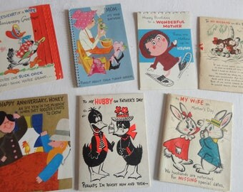 Story Cards and Poster Cards Mid Century Humor and Whimsy in Vintage All Occasion Lot No 283 Hillbilly Humor Animals-7