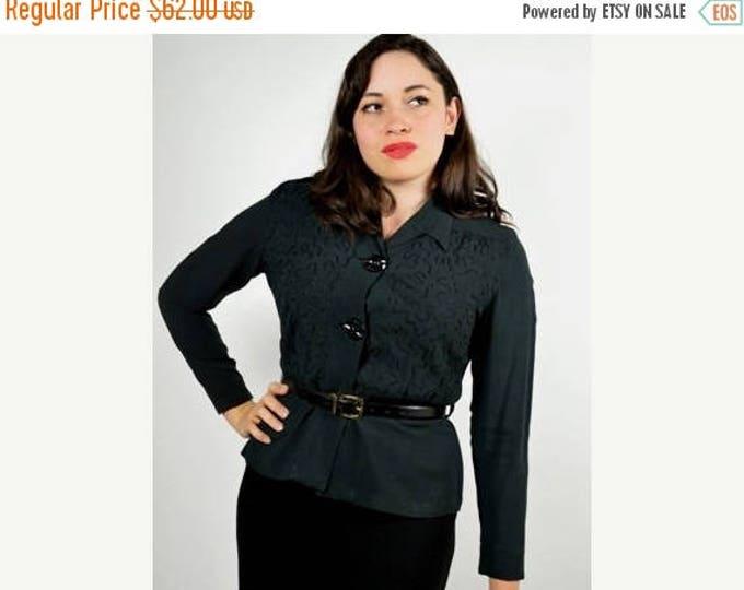sale Vintage Shirt, Vintage Blouse, 40s Blouse, Peplum Blouse, Black Blouse, Embroidered Blouse, World War II, Pin Up Blouse, Rockabilly Blo
