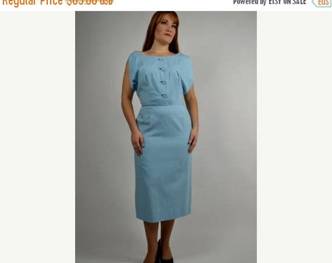 sale Vintage Dress, 50s Dress, Blue Dress, Wiggle Dress, Pencil Dress, Pin Up Dress,1950s Dress, Secretary Dress, Day Dress, Rockabilly Dres