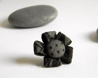 Men lapel pin. Flower boutonniere. Lapel stick pin. Grey and black. Flower buttonhole