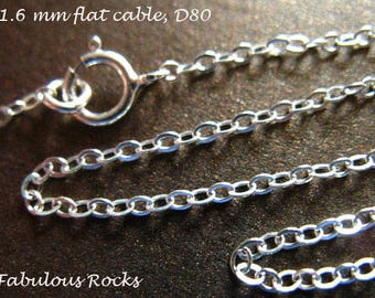 """1 pc, 30"""" inch, Sterling Silver Chain, Finished Chain, 2x1.6 mm Flat Cable, wholesale necklace chains, solo done. d80.30 hp"""