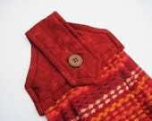Hanging kitchen towel  button top Southwest colors rust orange brown white  Quiltsy handmade