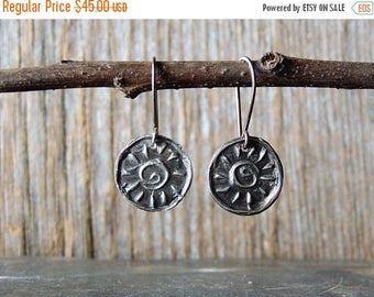 30% OFF CIJ Artisan Jewelry, Sterling Silver Drop Earrings, Spiral Suns, Handmade Silver, Handmade Ear Wires, Handmade Earrings, Rustic Jewe