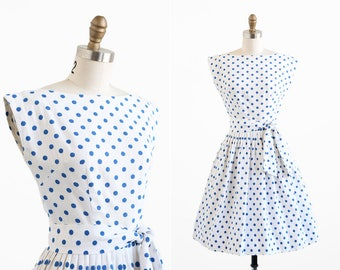vintage 1950s dress / 50s dress / White and Blue Polkadots Cotton Pique Dress