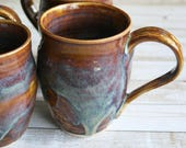RESERVED for Barbara - Set of Four Handcrafted Coffee Cups in Earthy Textured Brown Glaze Handmade Pottery Mugs Made in the USA