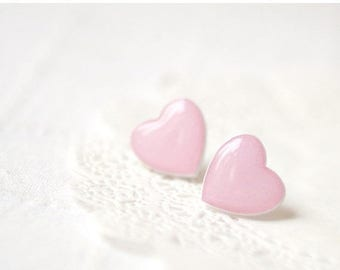 Pink Heart earrings - Baby pink heart - Heart jewelry - Valentines jewelry - Valentines Day gift - For her (E043)