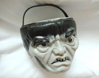 vintage Halloween bucket, Empire blow mold, trick or treat pail, Halloween decor, monster, Frankenstein, gray