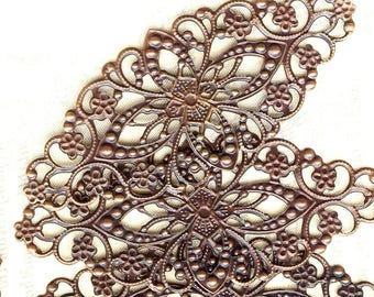 5 x prints 80x35mm MAT1605 copper filigree flowers