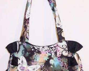 SALE & FREE SHIPPING- Butterfly Filigree Black - Handbag, Purse, Tote, Shoulder Bag, Outside Pockets