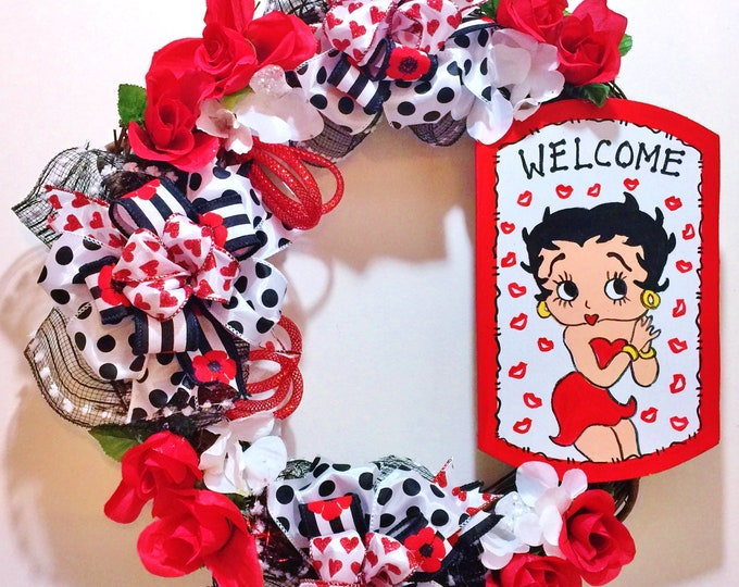 Betty Boop Red White Black Kisses Hearts - Welcome Door Grapevine Wreath