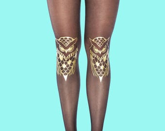 Holiday sale Gold tights, Owls model available in S-M, L-XL, gift ideas