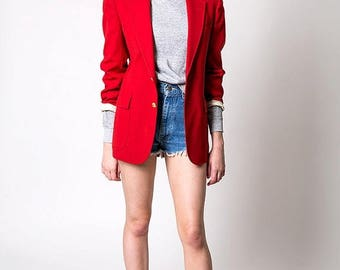 40% OFF CLEARANCE SALE The Vintage Lipstick Red Circketeer Blazer Jacket