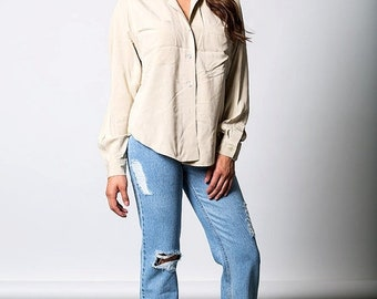 40% OFF The Vintage Beige Button Up Shirt