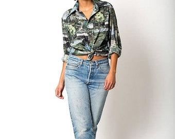 40% OFF The Vintage Digi Wild Fantasical Dreamy Forest Print Button Up Shirt